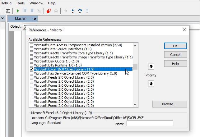 Screenshot: Enabling the Microsoft Excel Object Library in Visual Basic