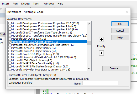 Enabling the Excel Object Library in the Tools/Refeences Menu