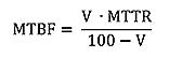 Formular for computing the MTBF value