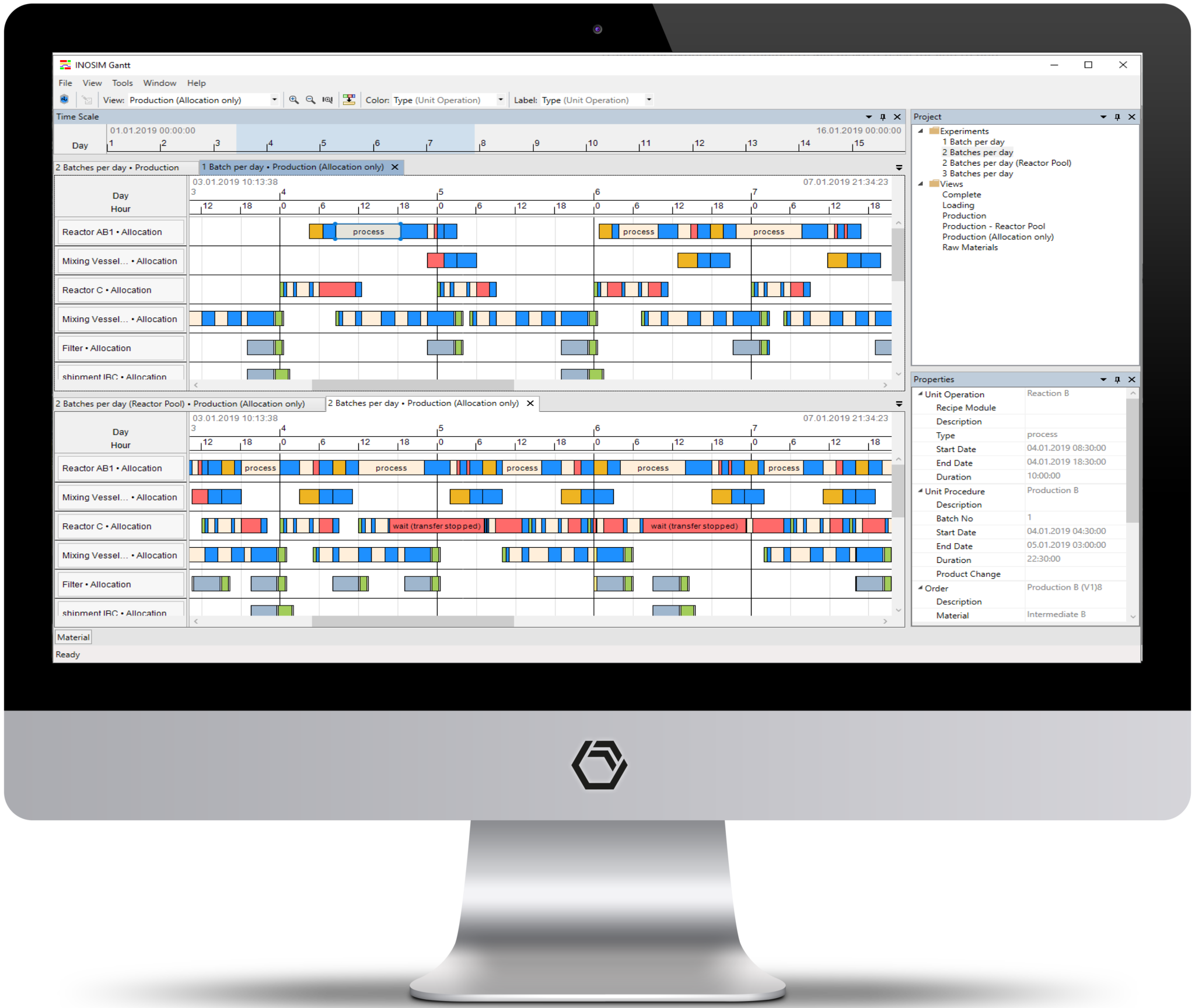 INOSIM Gantt Chart can display the resuts of several simulation runs side-by-side