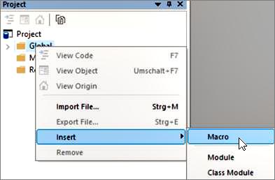 Screenshot: Create a new Macro in INOSIM