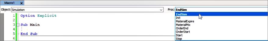 Screenshot: Access the EndSim Event as Subprocedure