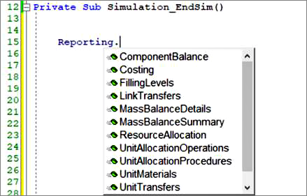 Screenshot: Method of the Reporting Object