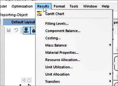 Screenshot: INOSIM menu tabulated evaluation results