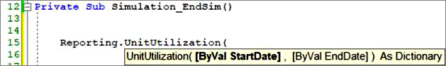 Screenshot: Call a method of the reporting object in Basic